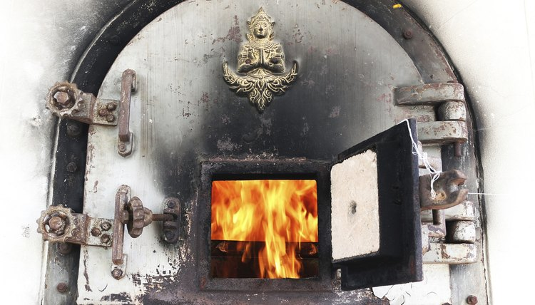 Some cremation chambers carry religious designs.