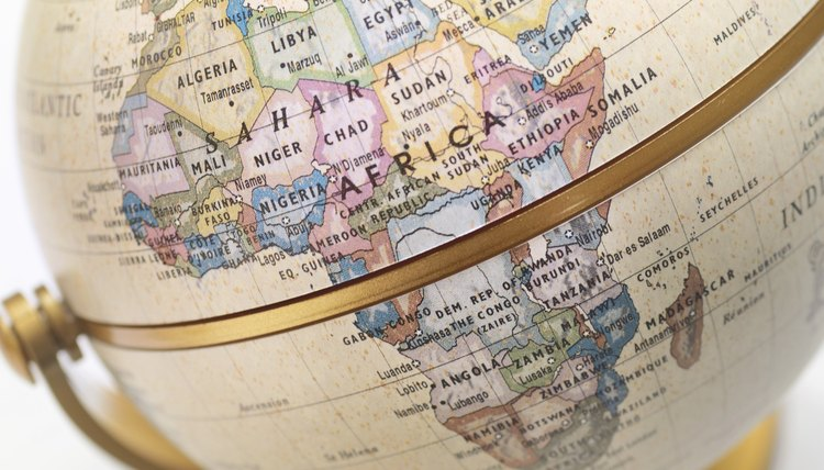Close-up of Africa on globe.