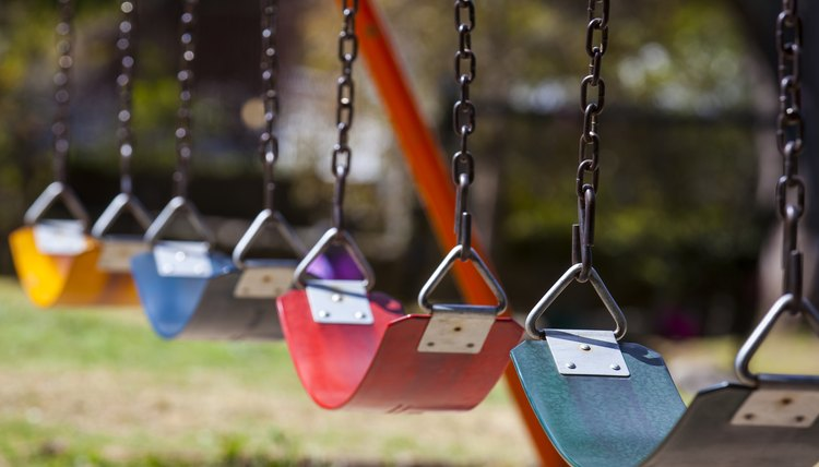 Empty colorful swings at the park