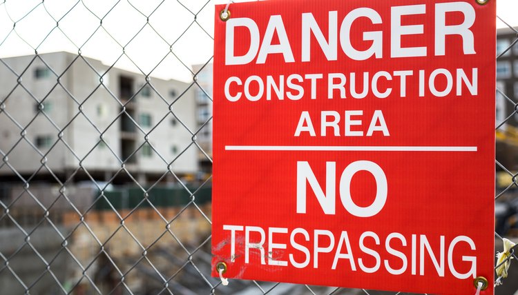 Danger/No Tresspassing Sign at a Construction Site