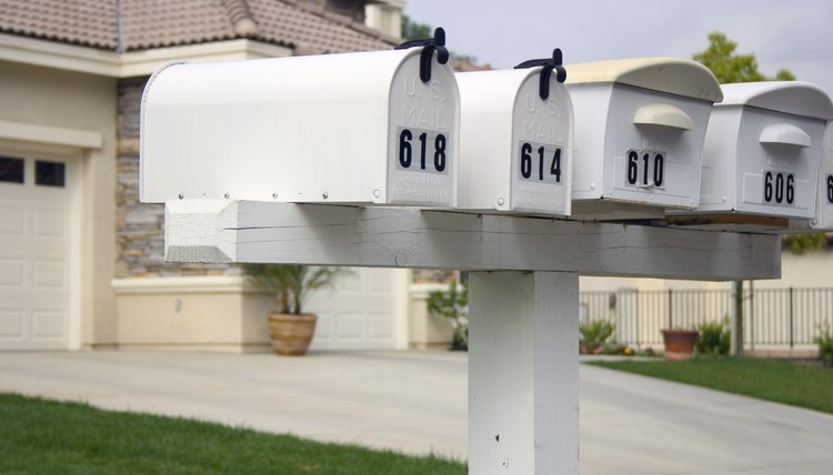 Houses with row of mailboxes