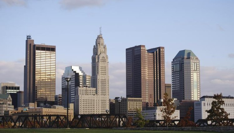 The Columbus skyline, home of Ohio State, shown in the evening.