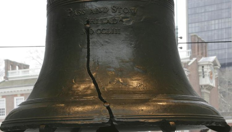 The cracked Liberty Bell.