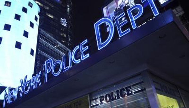 New York Police Department sign.