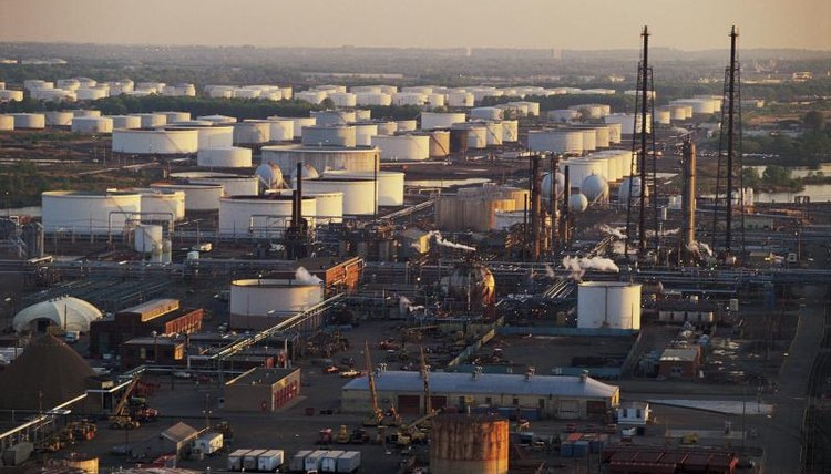 An oil refinery.