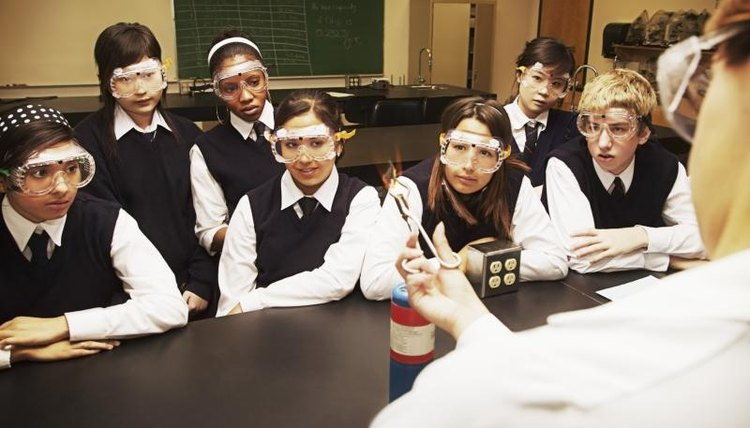 Students watching teacher in science lab.