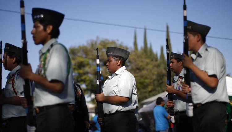 ROTC cadets march in parade