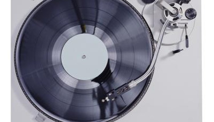 A record playing, a modern turntable