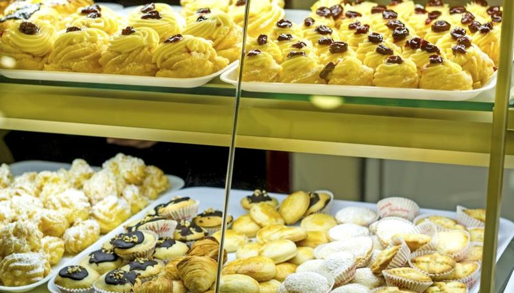 An assortment of pastries on display in a bakery in Sorrento, Italy