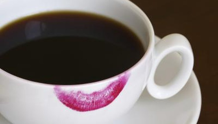 Lipstick mark on coffee cup