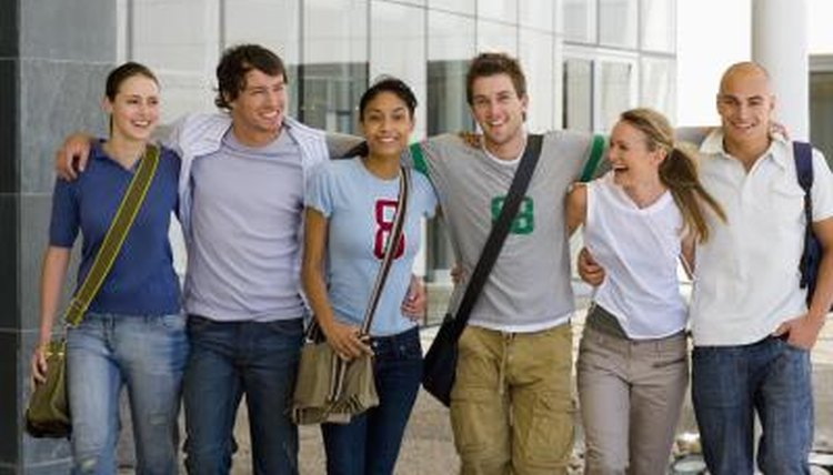 College students smiling together