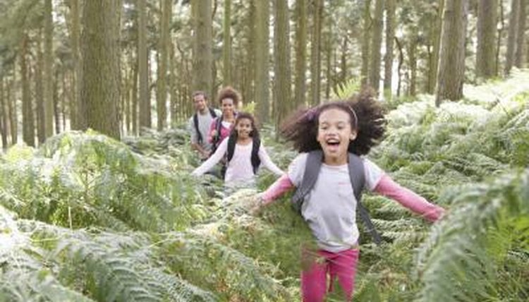 Students skipping through the forest.