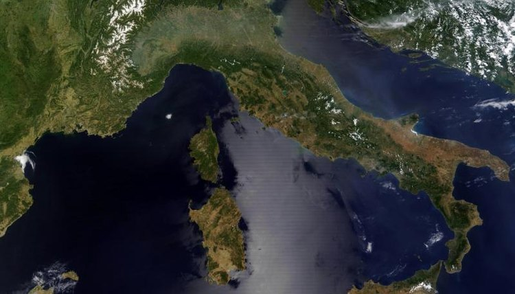 View of Italy from outer space
