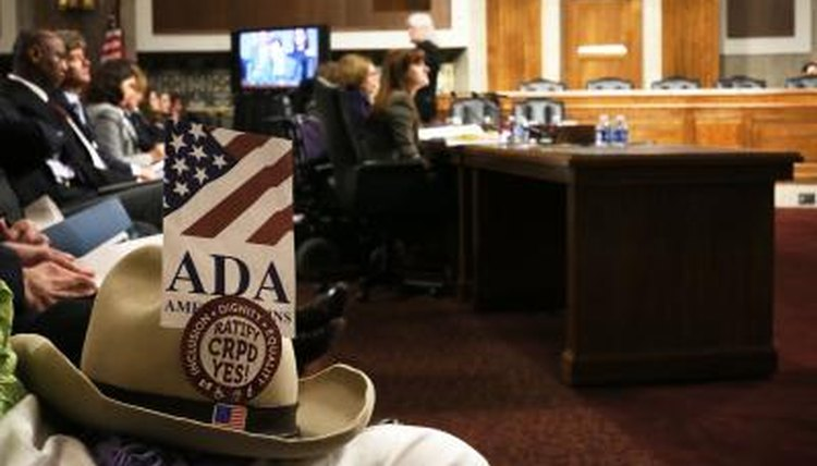 Hat belonging to disability rights advocate who helped pass the Americans with Disabilities Act of 1990, Justin Dart, in Senate hearing in Wash. D.C.
