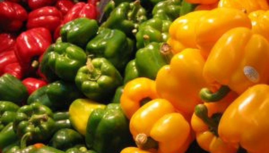 Red, green and yellow bell peppers.