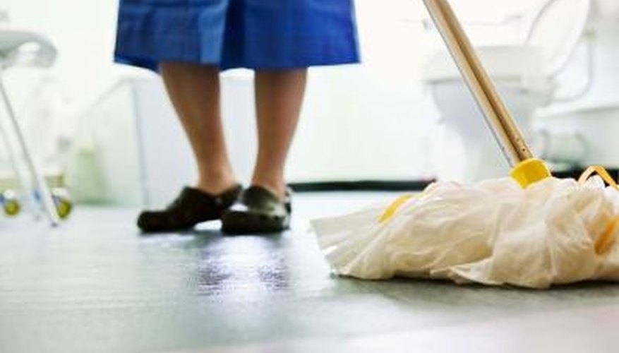 Keep concrete floors clean with a mop and simple cleaners.