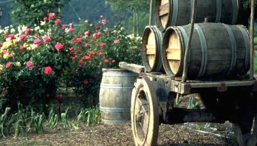 Used wine barrels bring charm to home gardens.
