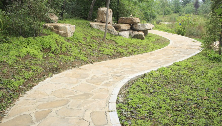 Flagstone pathways offer a less formal, natural look.