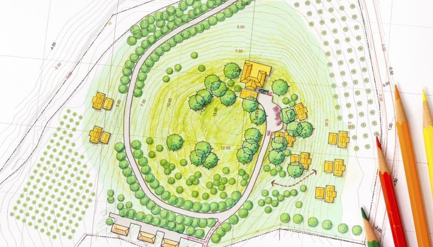 A drawing of a landscape design plan.