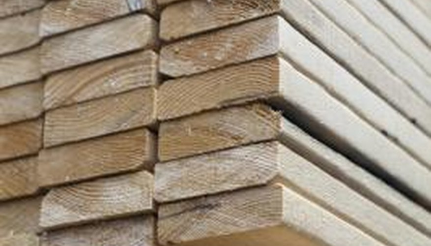 Lumber pieces cut to length make ideal walls for raised garden beds.