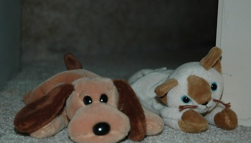 Beanie Babies are made from synthetic plush with polyester fiberfill stuffing.