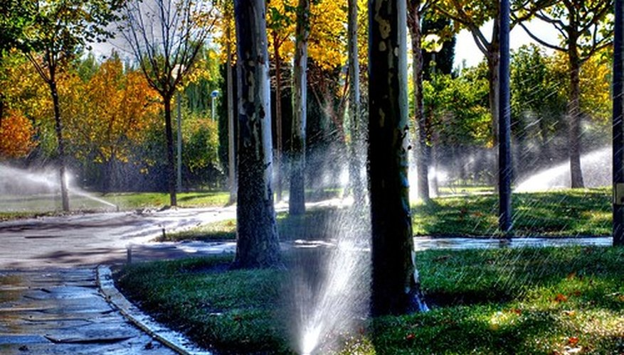 Sprinkler systems keep lawns adequately watered in dry climates.