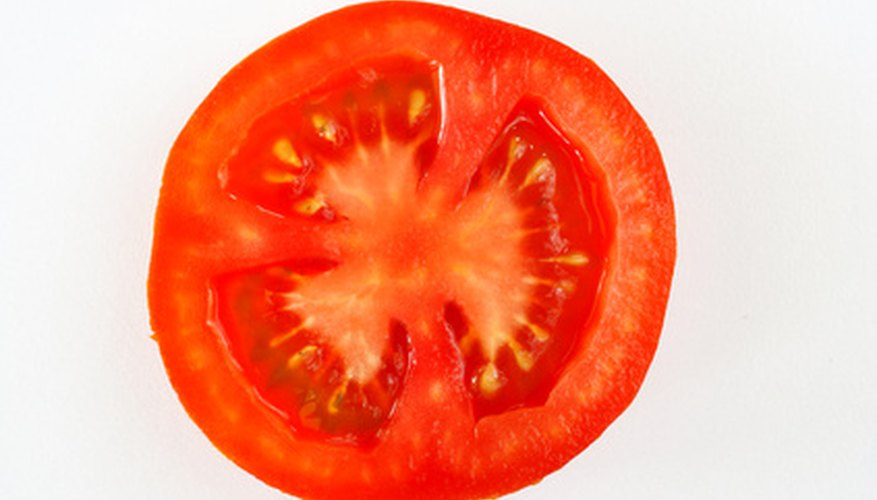 This cross-sectioned tomato clearly shows the locular cavities, placental tissue and pericarp.