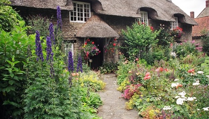 Cottage garden filled with flowers.