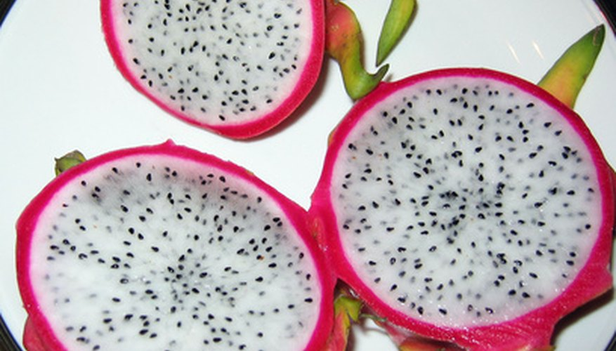 Dragon fruit has red or white edible flesh.