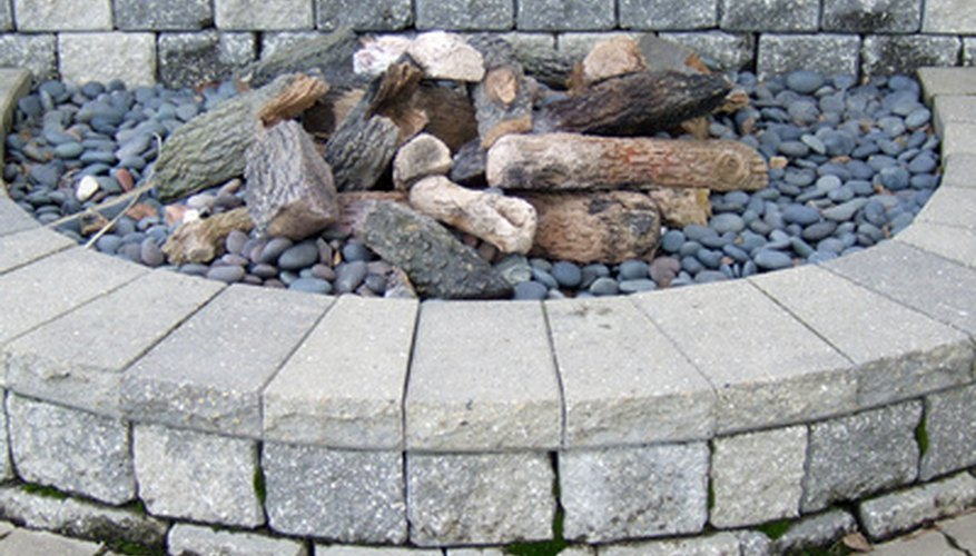 An outdoor fireplace.