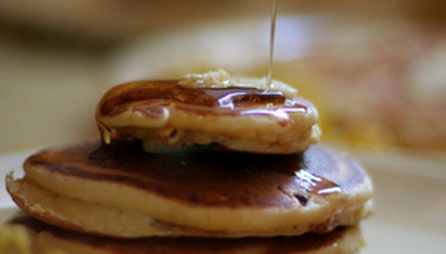 Maple syrup is used on pancakes.