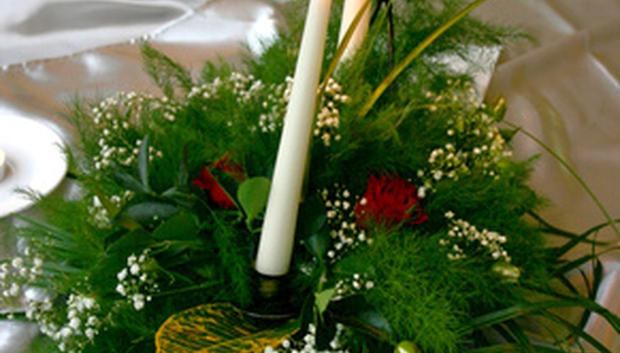 Candles or battery operated lights will illuminate a floral centerpiece.
