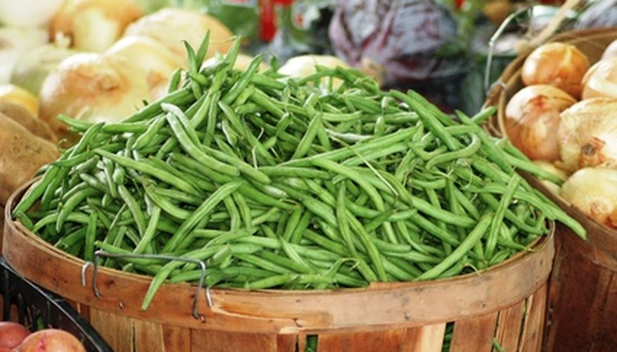 Greens beans are available in pole and bush varieties.