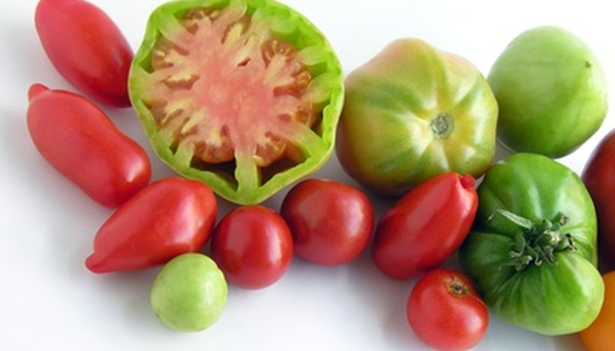 An array of heirloom tomatoes.