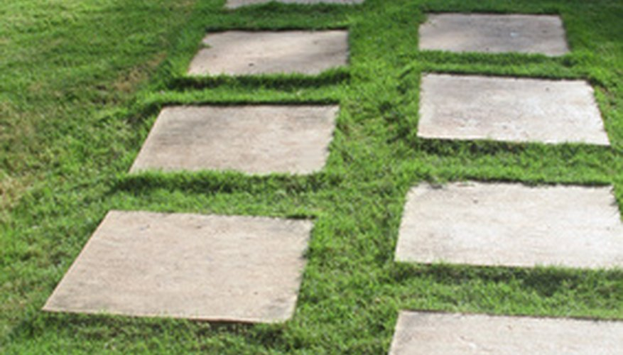 Square pavers can be laid out in a staggered pattern.