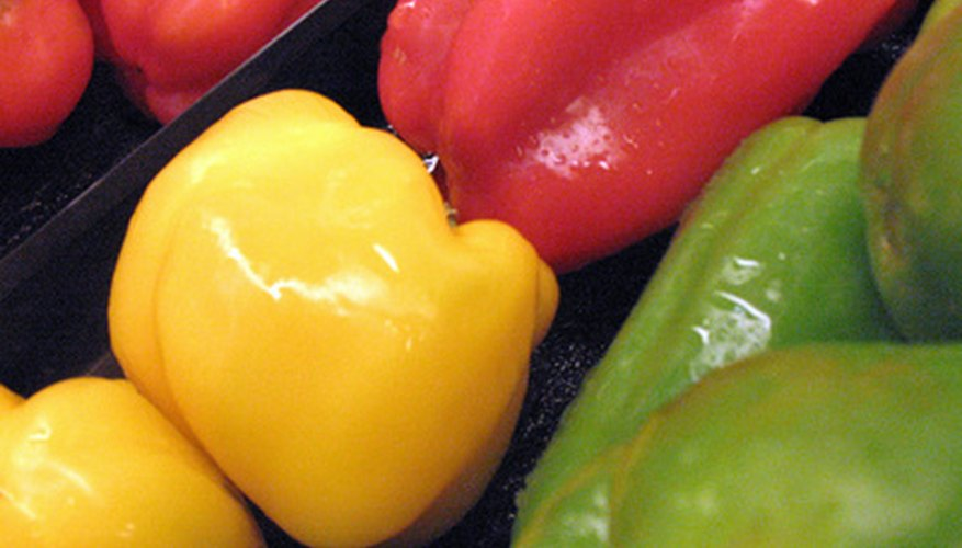 Bell peppers are mild and may be red, green or yellow.
