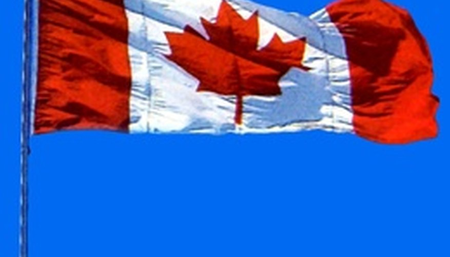 The Canadian flag has a red maple leaf in the middle.