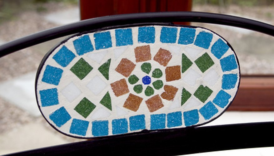 Pieces of china make an original design in a stepping stone.