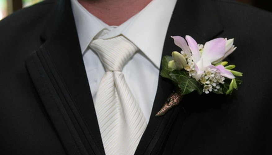 A boutonniere is a traditional accent for the groom to wear on his wedding day.