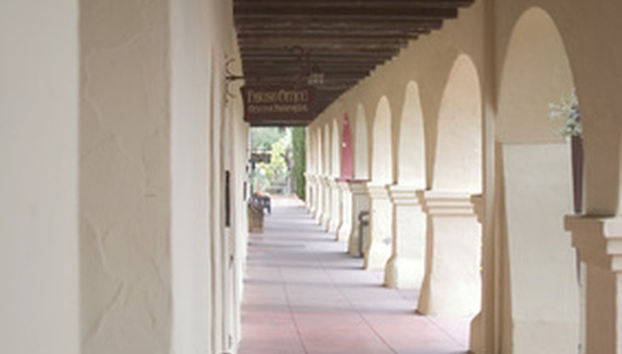 Many California missions, including San Fernando Rey, feature colonnades like this one.