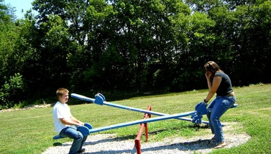 A teeter-totter is a lever with the fulcrum in the middle.