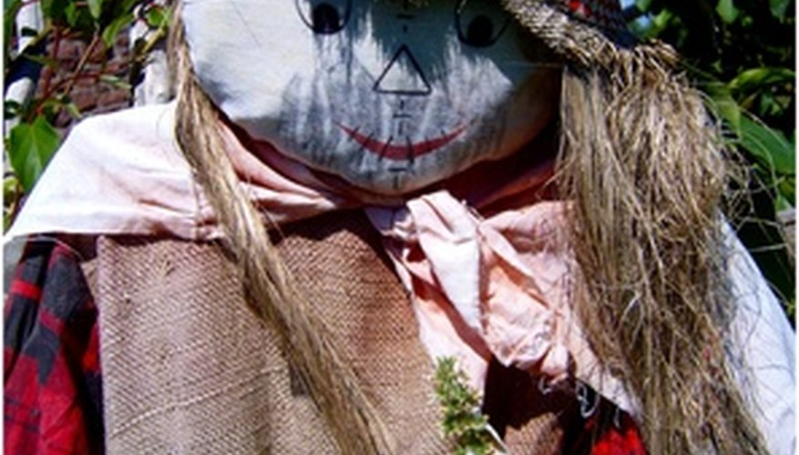 Scarecrows are more decorative than scary.