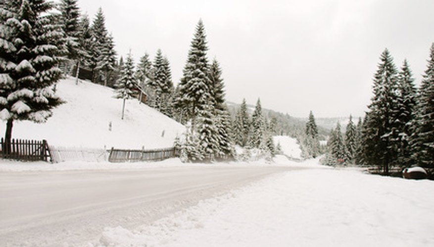 Snowy roads are often salted to make them less slippery.
