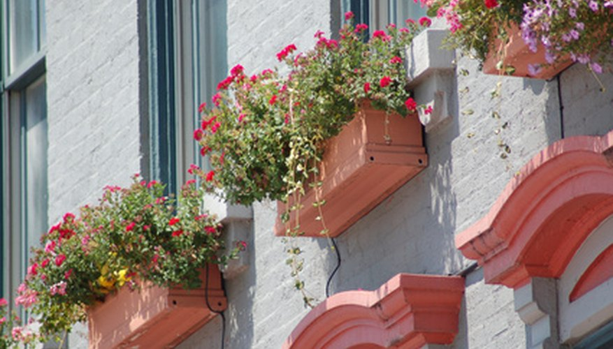 Window boxes add color to the home's exterior.
