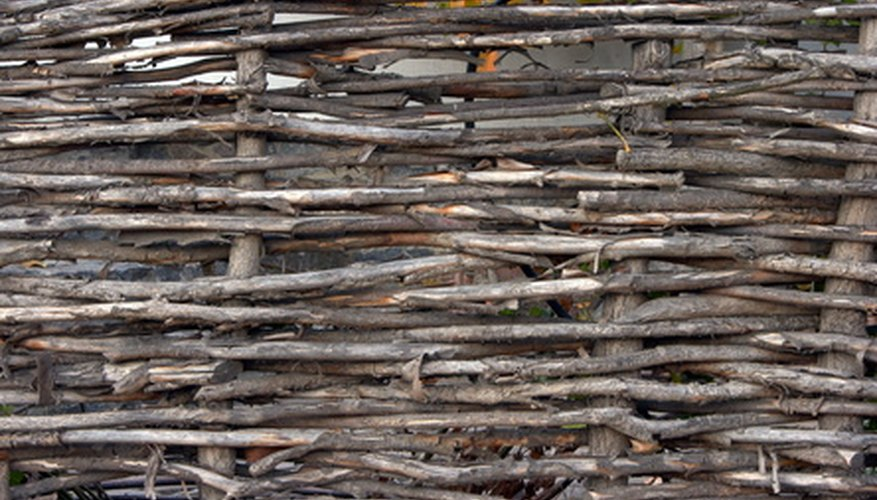 Wattle fences may be made with branches and flexible twigs or woody vines.