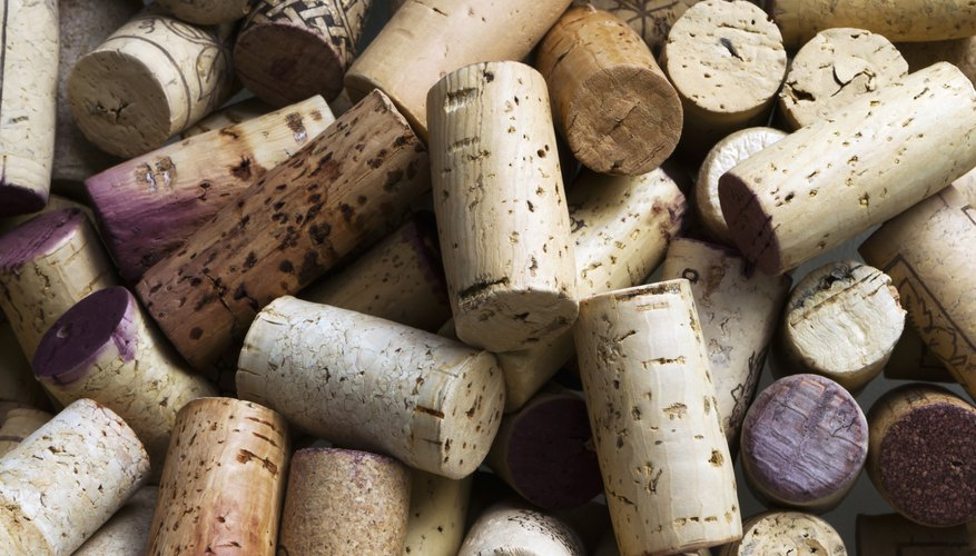 A close up of a group of wine corks