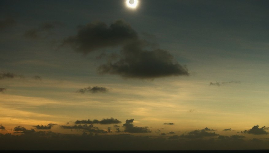 A clear view of a solar eclipse occurring above the clouds.