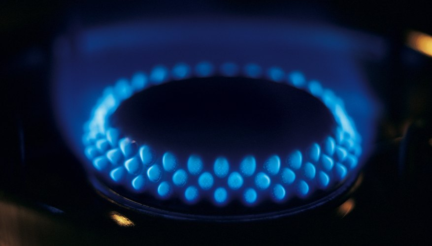 A stovetop burns natural gas.