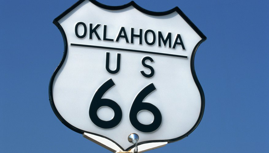 The classic Route 66 runs through Oklahoma.