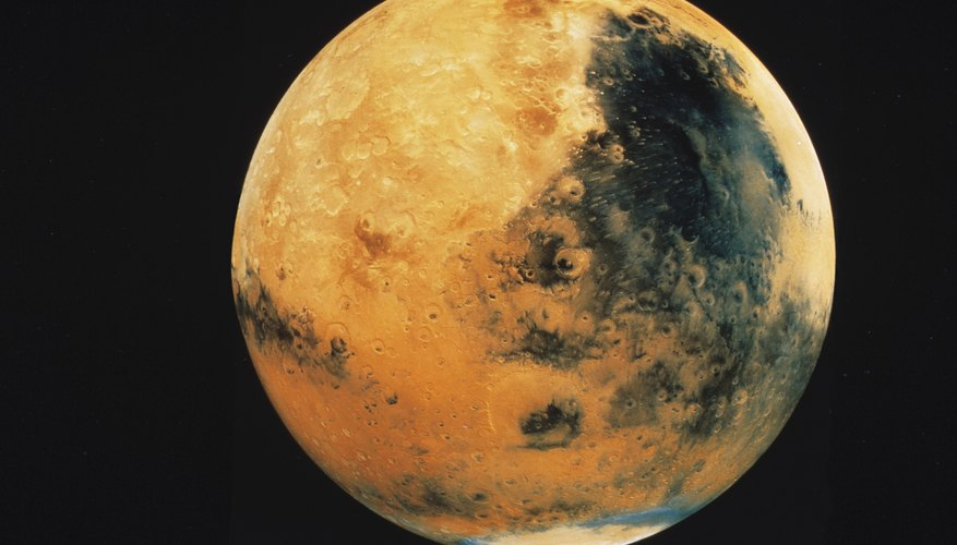 Mars has two relatively small moons, Phobos and Deimos.